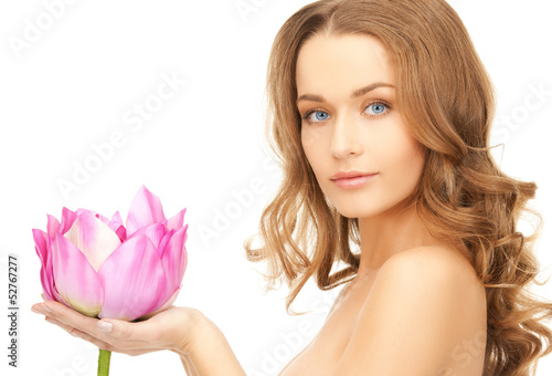 lovely woman with lotos flower