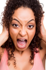 Frustrated african woman