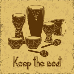 Illustration of African percussion drum set