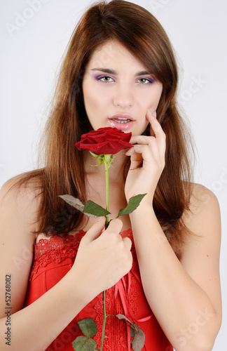 sweet girl with rose