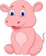 Cute baby hippo cartoon