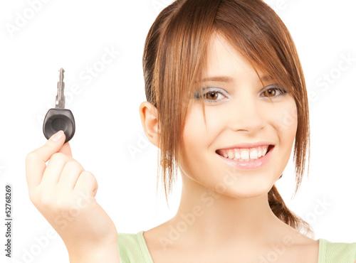 happy girl with car key