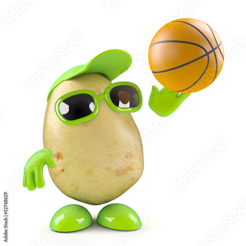 3d Potato man plays basketball