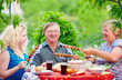 happy family together on picnic, summer outdoor