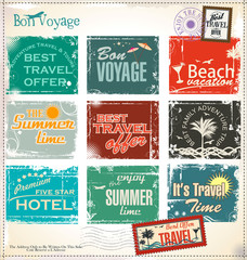 Summer vacation grunge labels