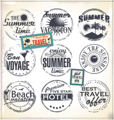 Summer vacation grunge rubber stamp