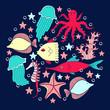 Sea world animals set