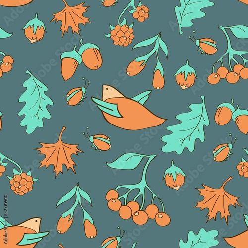 Forest elements seamless pattern