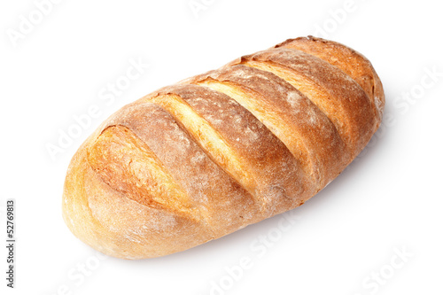 single french loaf bread isolated on white background