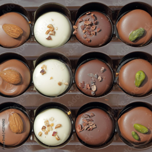 assorted belgian chocolate pralines in box