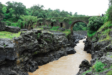 Portuguese bridge at Blue Nile Falls (Ethiopia)