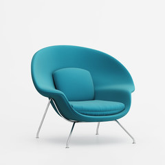 Isolated blue classic armchair, icon of american design