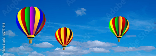 Vector hot air colorful balloon on blue sky