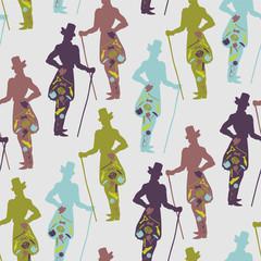 Seamless pattern for gentlemen dandy style