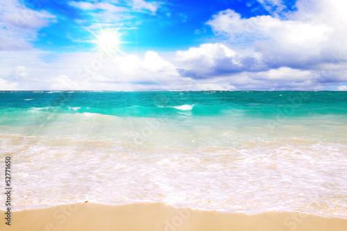 canvas print picture Karibischer Strand und Sonnenschein.