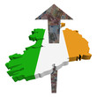 European Euros arrow and Ireland map flag illustration