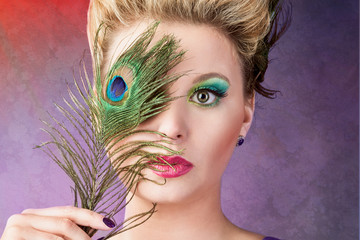 Portrait with a peacock feather
