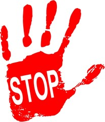 Stop sign on red hand
