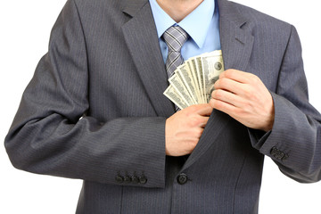 Young businessman with money isolated on white.