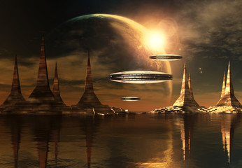 Alien Planet with Towers and Spaceships - Computer Artwork