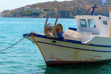 Greece Syros island, fishing boats at sea in a traditional Syros