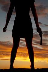 woman body gun silhouette
