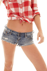 woman red plaid shirt shorts body