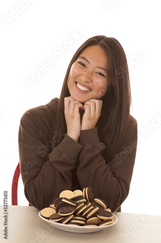 woman plate of cookies smile