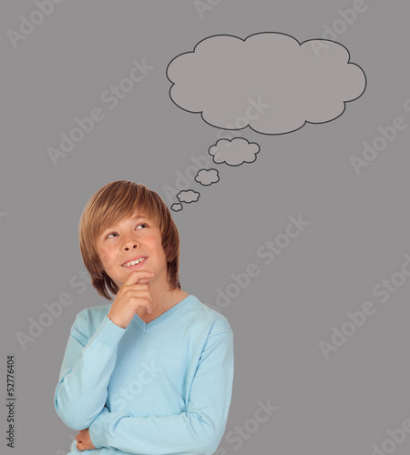 Doubtful preteen boy thinking