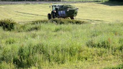 Tractor recogiendo hierba en el campo