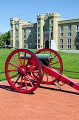 Cannons in front of Virginia Military Institute building