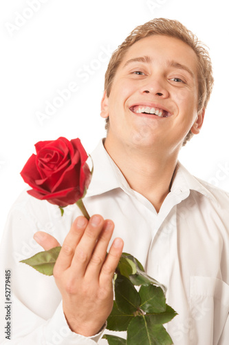 young man with a flower in her hand
