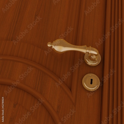 beautiful metal handle and keyhole on wooden door