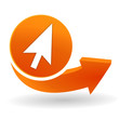 pointeur sur bouton web orange