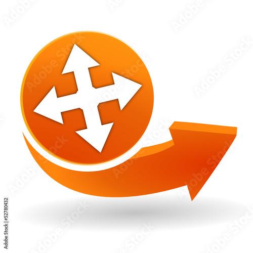 directions sur bouton web orange