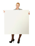 Beautiful young woman holding empty white board