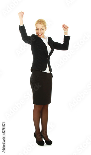 Business woman hands up,isolated on white background