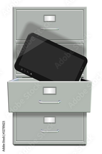 Filing cabinet and computer tablet