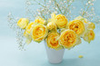 Yellow roses on a blue background
