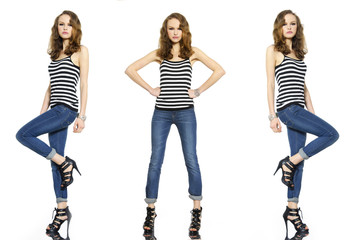 Full body Pretty three young woman in stripy t-shirt and jeans,