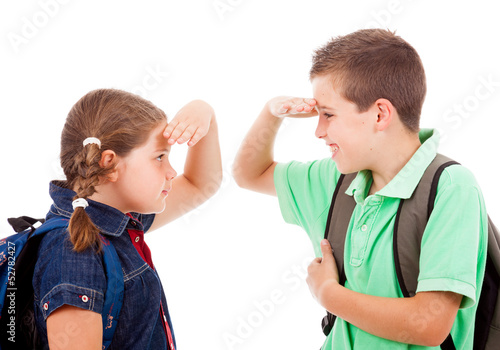 School kids isolated over white background
