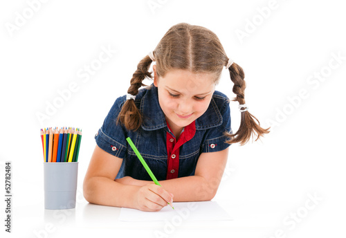 Cute child draw with colorful crayons, isolated over white