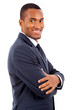 Portrait of a happy smiling African American business man agains