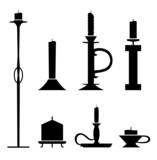 Set of stencil candlesticks with candles