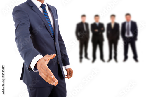 Business man offering handshake with businesspeople people on ba