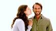 Girlfriend kissing boyfriend on the cheek