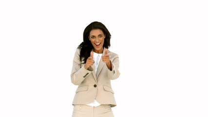 Businesswoman pointing her fingers and turning