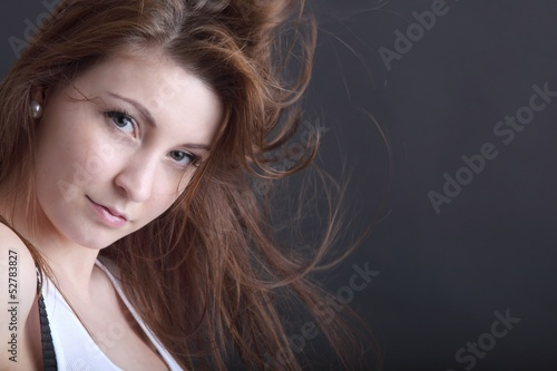 young beautiful woman with wild hair