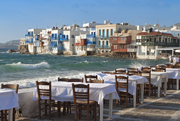 Mykonos island in Greece, Area of the small Venice.