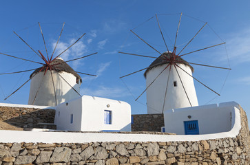 The old traditional windmills of Mykonos island